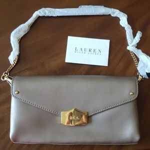 Ralph Lauren  Newbury Envelope Clutch Patina